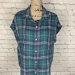 Anthropologie Cloth & Stone Plaid Button Up Top L